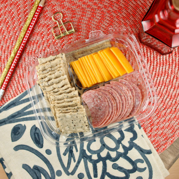 Salami, Cheese and Cracker Plate