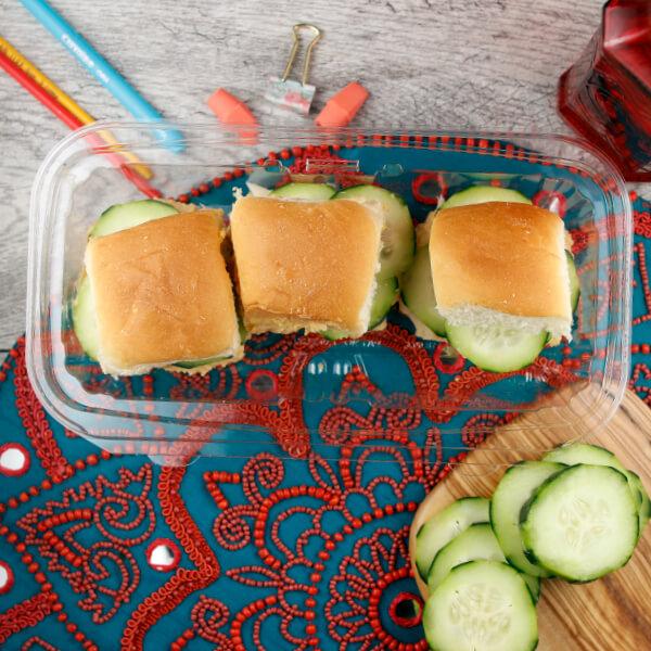 Hummus, Cucumber & Cheese Sliders