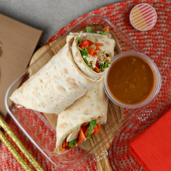Thai Seared Tofu Flatbread Wrap