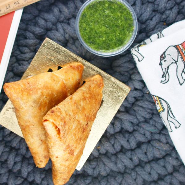 Sukhi's Potato Samosas with Green Chutney Sauce