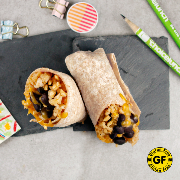 Gluten-Free Rice & Bean Burrito with Cheese